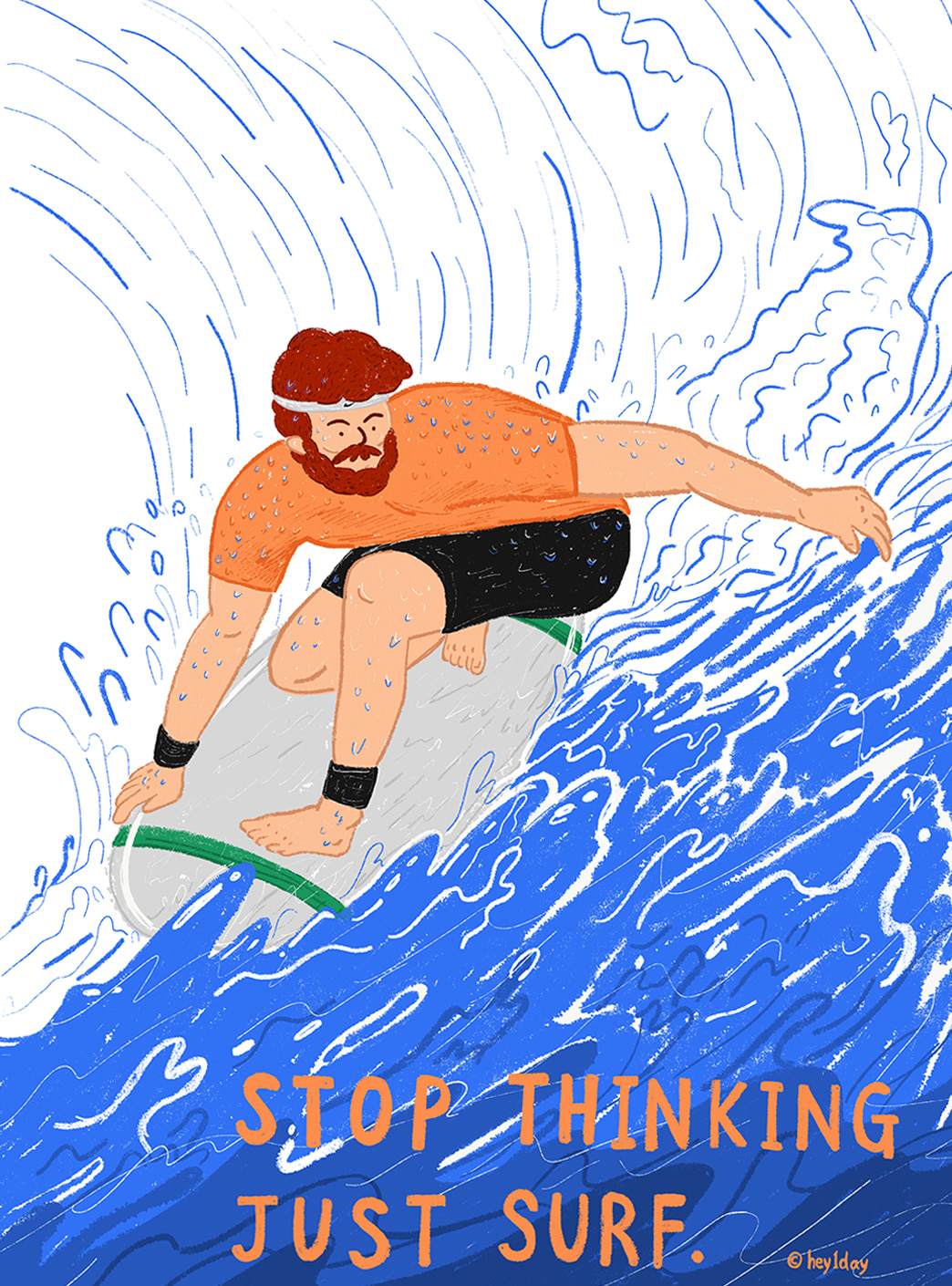 stop thinking just surf 엽서